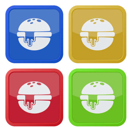 melted cheese: set of four colored square icons - hamburger with melted cheese Illustration