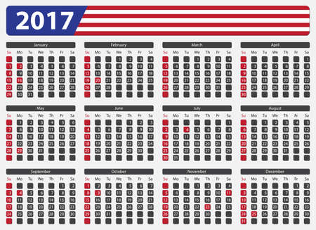 days of the week: USA calendar 2017, official holidays and non-working days - week starts on sunday Illustration