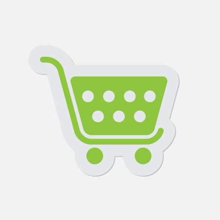 go to store: simple green icon with contour and shadow - shopping cart on a white background
