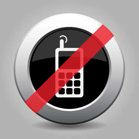 gray button with no old mobile phone with antenna and signal - banned icon Stock Illustratie