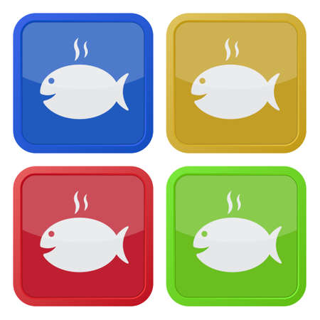 caudal: set of four colored square icons - grilling fish with smoke