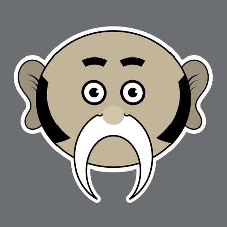 sideburns: sticker - beige funny man with a big black mustache and sideburns