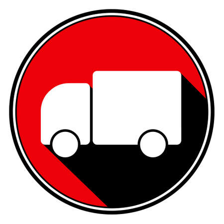 camion: information icon - red circle, black outline and white lorry car with stylized black shadow Illustration