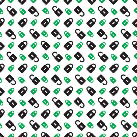 unprotected: seamless pattern, wrapping paper - green, black closed and open padlocks on a white background