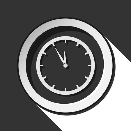 hour hand: black icon - last minute clock with white stylized shadow