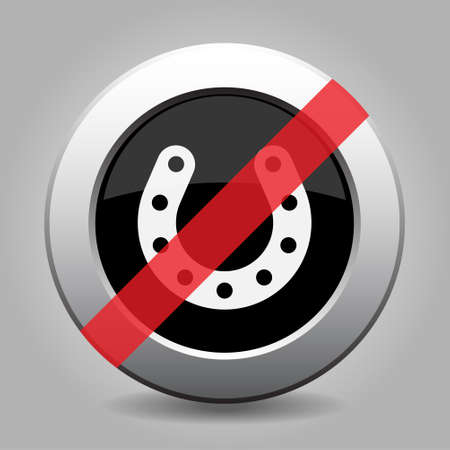 gray chrome button - no horseshoe with holes, banned icon