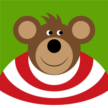 brown shirt: drawing - brown smiling cartoon bear with a big ears, red white shirt on a green background Illustration