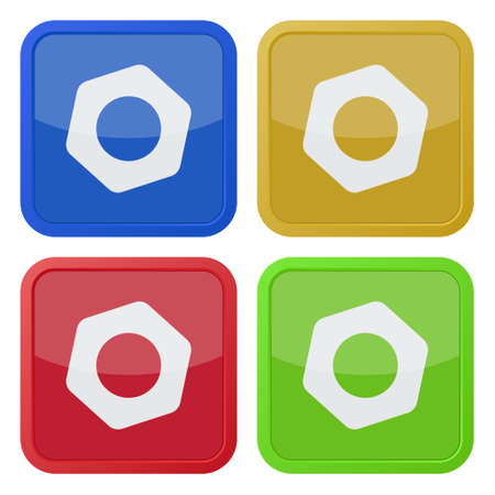 set of four colored square icons with nut Illustration