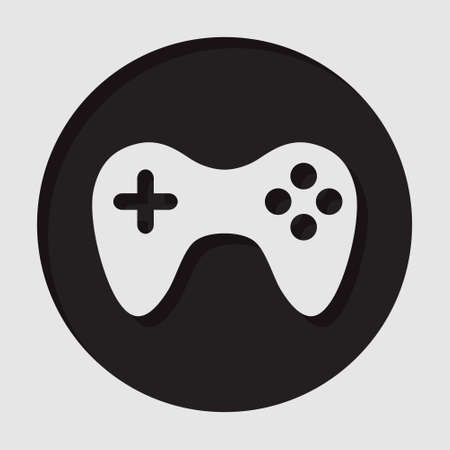 gamepad: information icon - dark circle with white gamepad and shadow