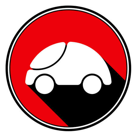 information icon - red circle, black outline and white cute rounded car with stylized black shadow Illustration