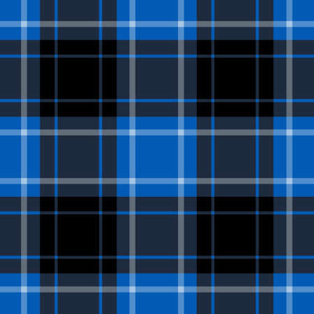 seamless illustration - blue tartan with black and white stripes