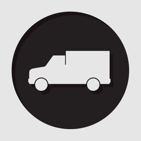 camion: information icon - dark circle with white van and shadow Illustration