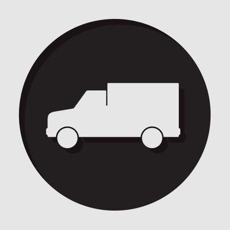panel van: information icon - dark circle with white van and shadow Illustration