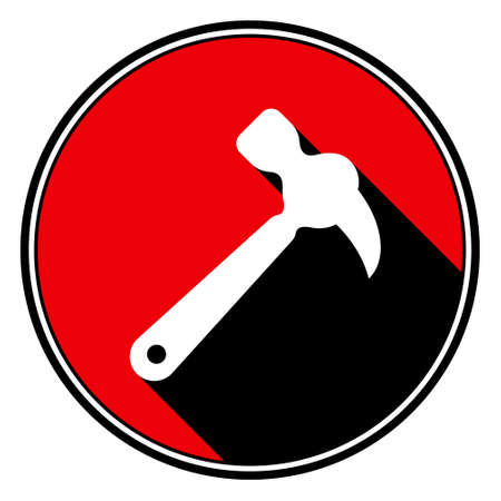 claw hammer: information icon - red circle, black outline and white claw hammer with stylized black shadow