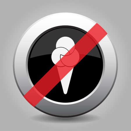 gray chrome button with no ice cream - banned icon
