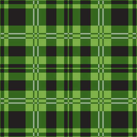 seamless illustration - green tartan with black squares and white stripes