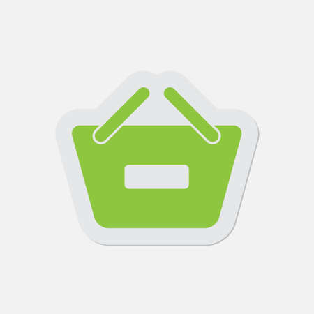 go to store: simple green icon with contour and shadow - shopping basket minus on a white background