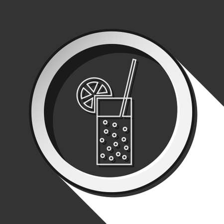 carbonated drink: black icon - glass, carbonated drink, straw and citrus with white stylized shadow