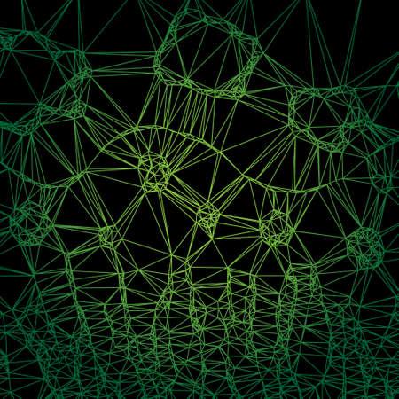 irregular: artistic abstract - irregular green lighting net on a black background