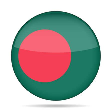 bengal light: button with national flag of Bangladesh and shadow