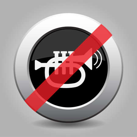 gray chrome button with no trumpet, sound with two vibration waves - banned icon