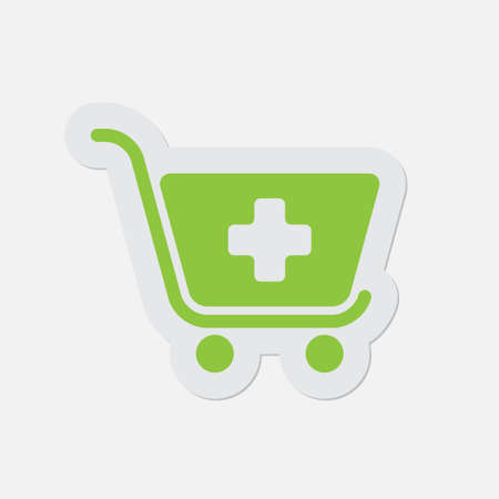 green plus: simple green icon with contour and shadow - shopping cart plus on a white background