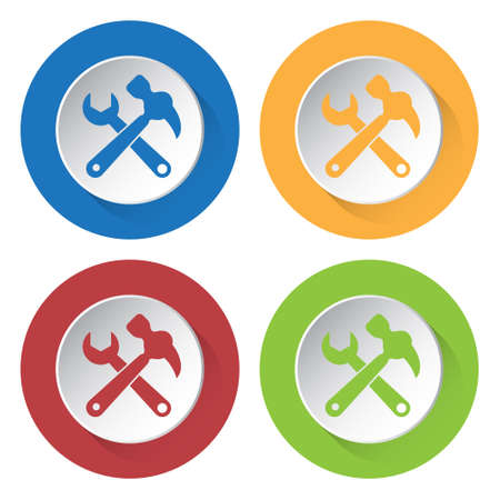 claw hammer: set of four colored icons - claw hammer with spanner