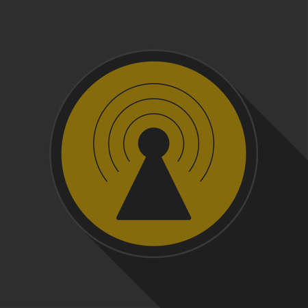 transmitter: dark gray and yellow icon - transmitter on circle with long shadow
