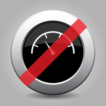 gray chrome button with no dial symbol - banned icon Illustration