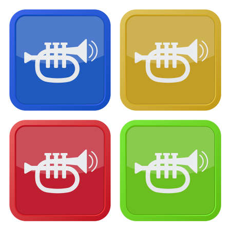 set of four colored square icons - trumpet, sound with two vibration waves