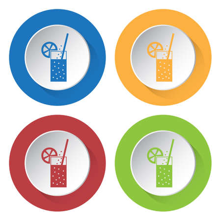 carbonated drink: set of four colored icons - glass with carbonated drink, straw and citrus