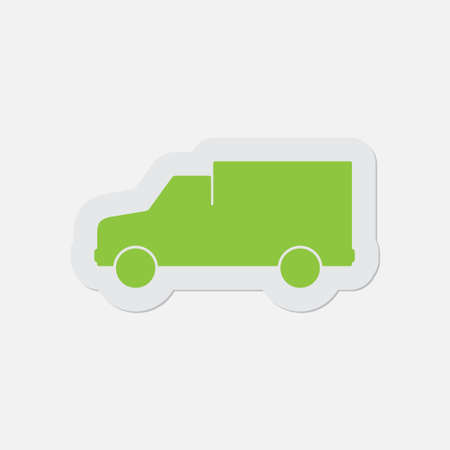 camion: simple green icon with contour and shadow - van on a white background
