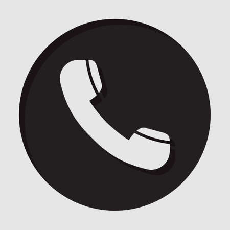 old telephone: information icon - dark circle with white old telephone handset and shadow
