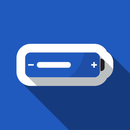 square blue information icon with white outline and shadow - blue and black battery medium
