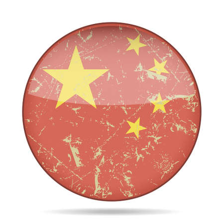 button with vintage national flag of China and shadow - grunge style