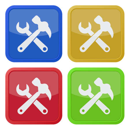 claw hammer: set of four colored square icons - claw hammer with spanner Illustration