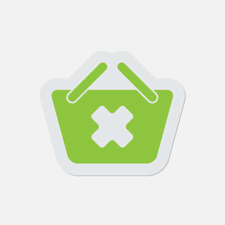 go shopping: simple green icon with contour and shadow - shopping basket cancel on a white background