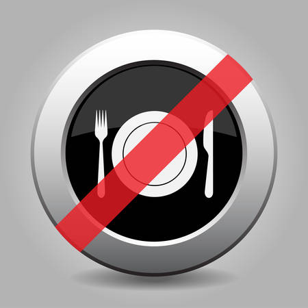 interdict: gray chrome button - no cutlery, fork and knife with plate - banned icon