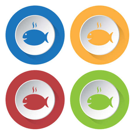 caudal: set of four colored icons - grilling fish with smoke
