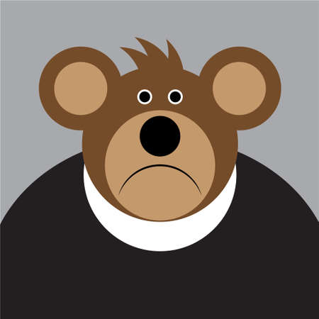 cartoon drawing - brown sad bear with a big ears and black shirt on a gray background