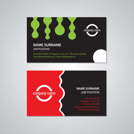 tel: set of two business cards, green, red, black and white colors - Canada and USA standard, 3,5 x 2 in or 88,9 x 50,8 mm Illustration