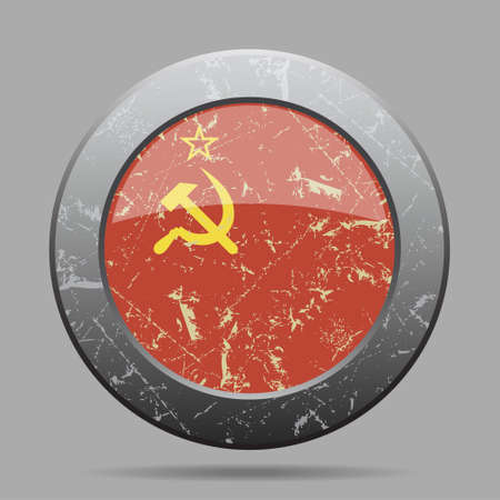 soviet flag: vintage metal button with the national flag of Soviet Union on a gray background