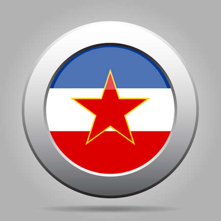 former yugoslavia: metal button with the national flag of Yugoslavia on a gray background Illustration