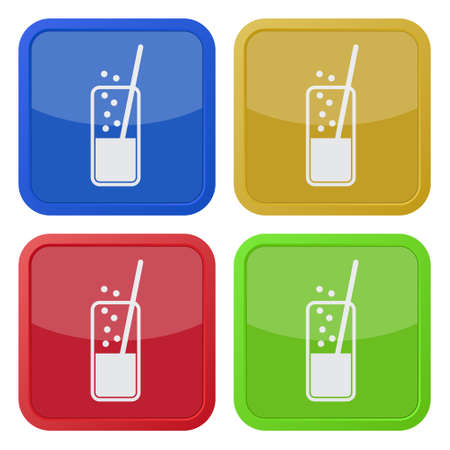 carbonated: set of four colored square icons - glass with carbonated drink and straw