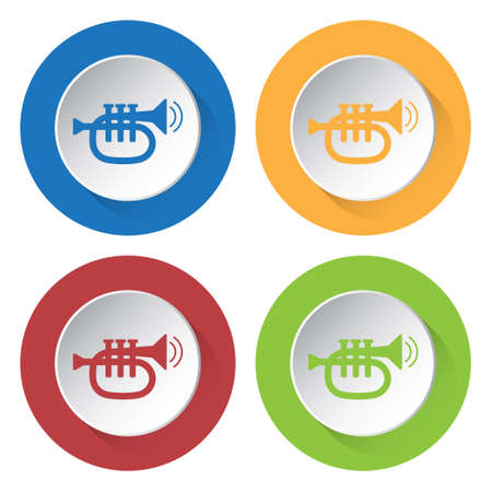 set of four colored icons - trumpet, sound and two vibration waves Illustration