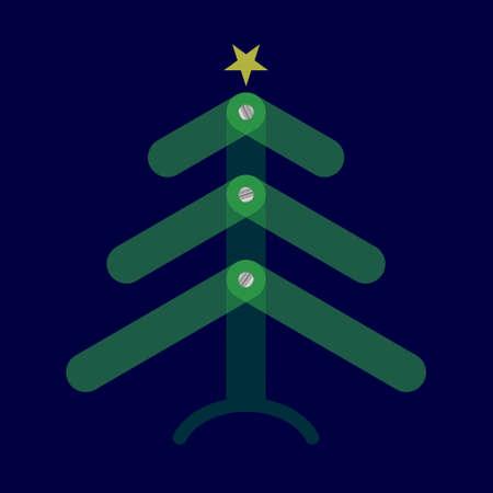 Stil Weihnachtsbaum mit grünen Zweigen durchscheinend, Schrauben und gelben Stern auf einem dunkelblauen Hintergrund
