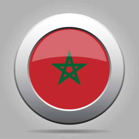 metal button: metal button with the national flag of Morocco on a gray background Illustration