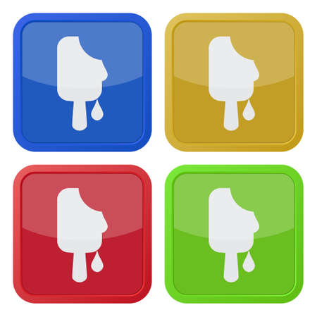 set of four colored square icons with melting stick ice cream Illustration