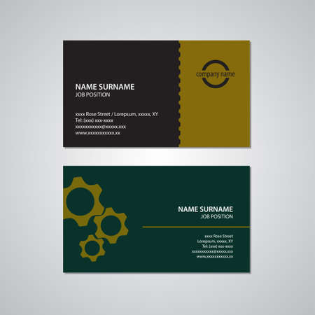 set of two business cards, gears, teeth, black, yellow, gold, and green color with white text - Canada and USA standard, 3,5 x 2 in or 88,9 x 50,8 mm Vetores