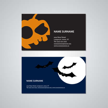 millimeters: set of two Halloween business cards - Canada and USA standard, 3,5 x 2 inches or 88,9 x 50,8 millimeters Illustration